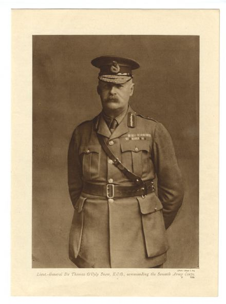 1916 WW1 PRINT Lieutenant General Sir Thomas D'Oyly Snow KCB VII Corps  GREAT WAR Lesboeufs